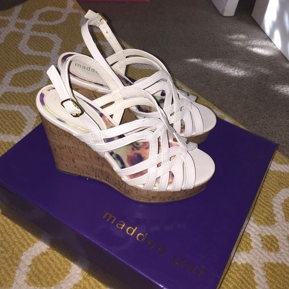 White Madden Girl Wedges Women's size 6 1/2, clean and in great condition!  Madden Girl Shoes Wedges
