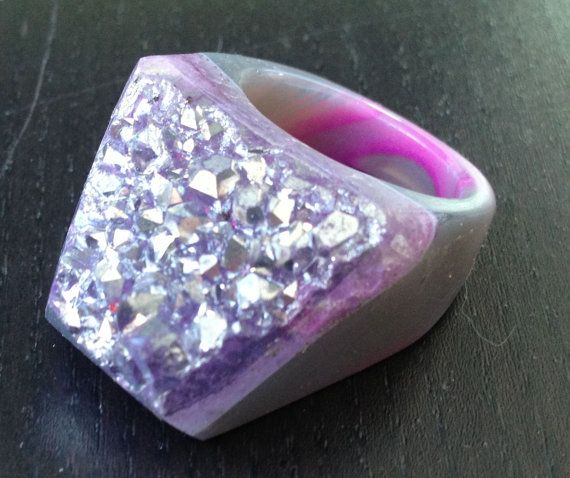 SALE Dara Ettinger KATE Druzy Ring in Pink/ Silver by daraettinger