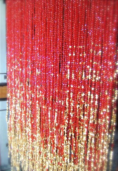 Acrylic Red Gold 3 Beaded Curtains