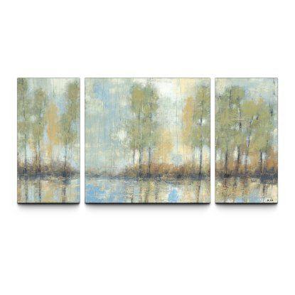 Through the mist 30 x 60 textured canvas art print triptych wall art at hayneedle