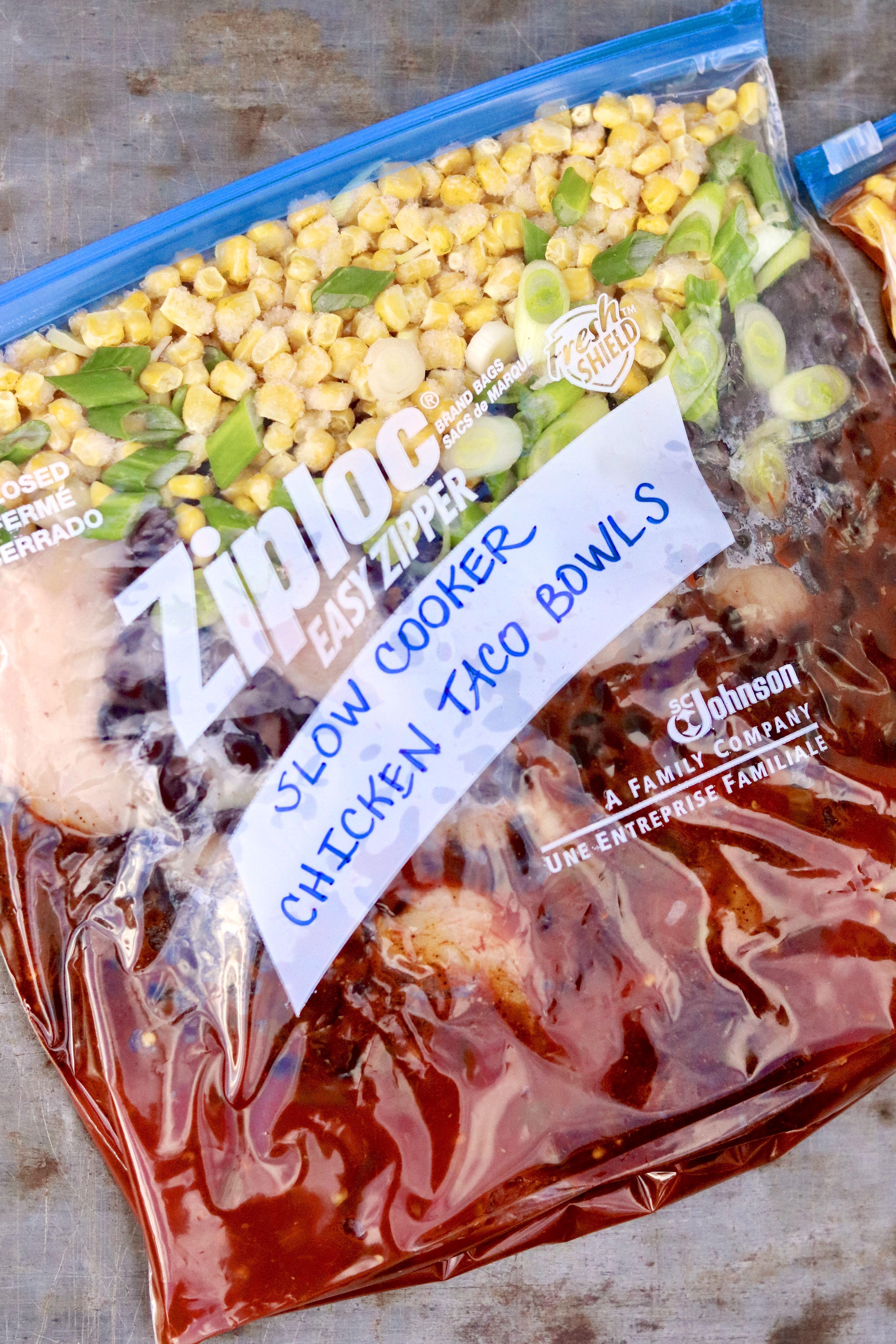 Slow Cooker Taco Chicken (with freezer bag option #crockpotmealprep