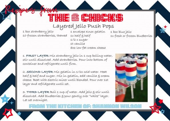 Table Talk from The 6 Chicks: Favorite Dish for 4th of July - Red, White and Blue Jello Push Pops
