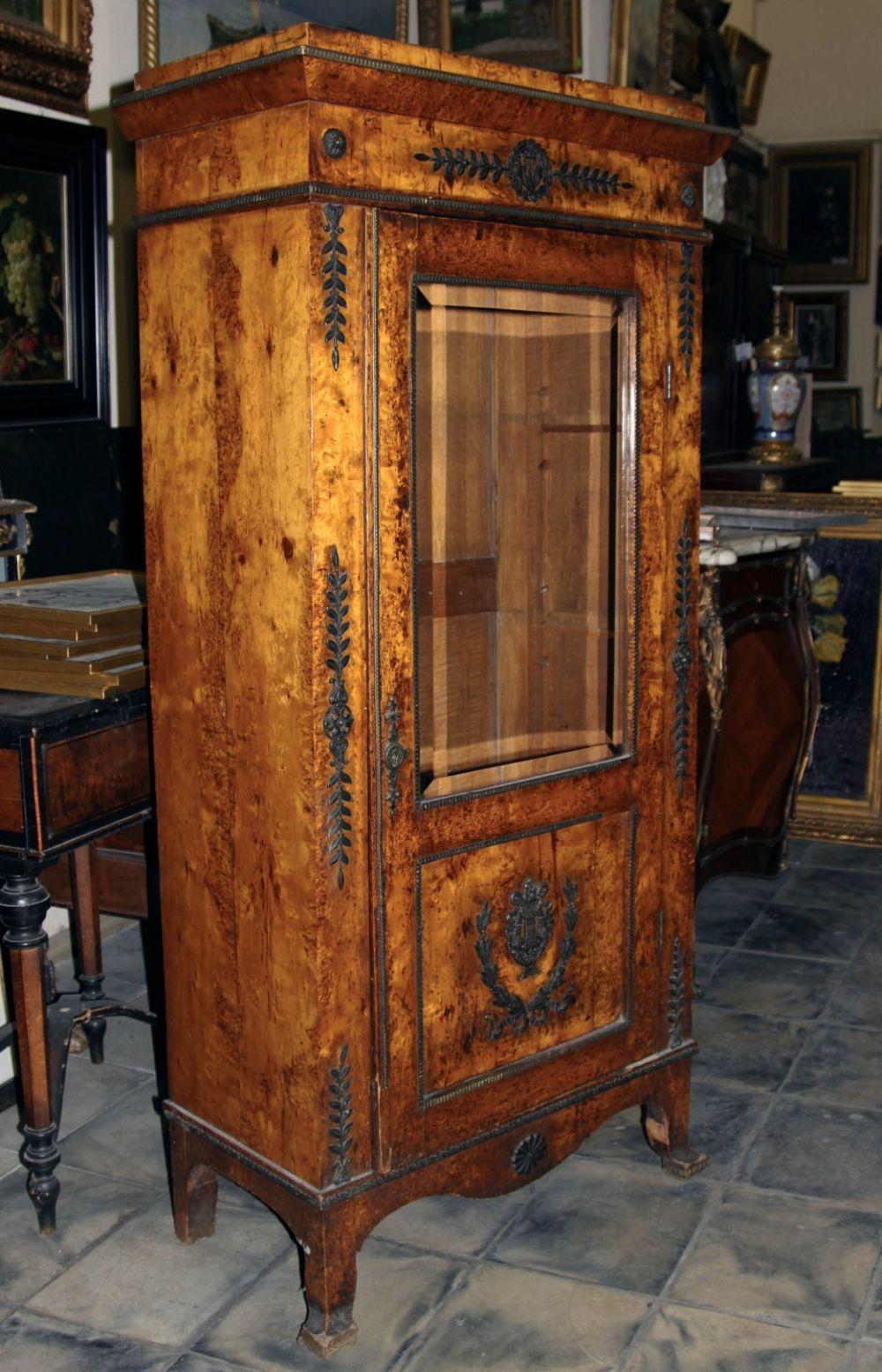 Шкаф книжный карельской берёзы с бронзовыми накладками ...