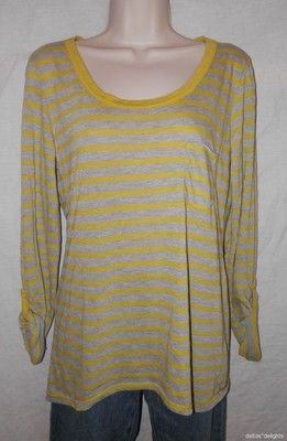 Louise Et Charlotte Top s Small Green Gray Striped Scoop Neck Anthropologie | eBay