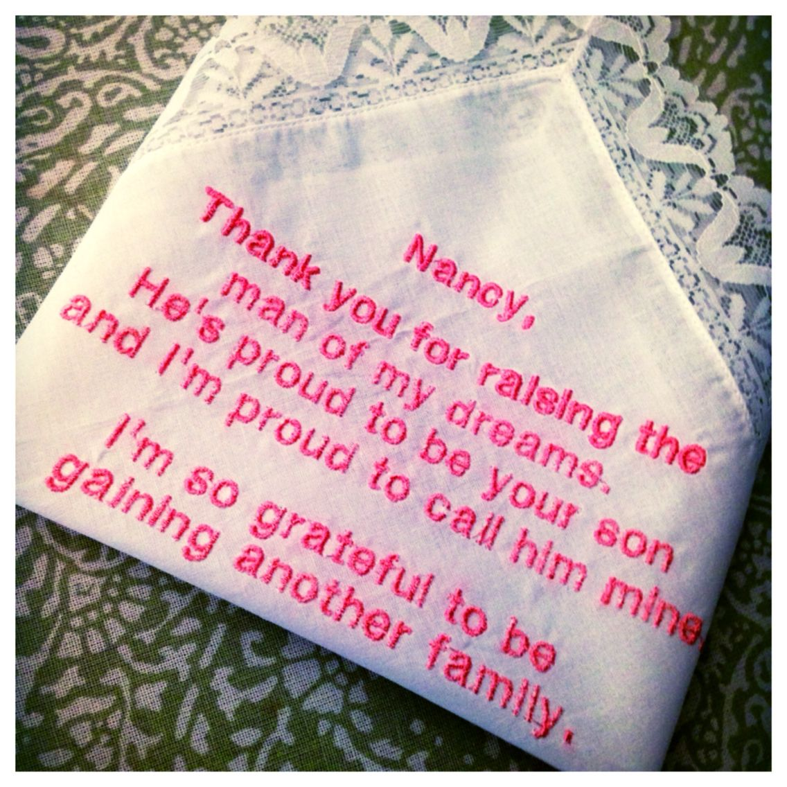 Handkerchief for wedding or event. Write a special message ...