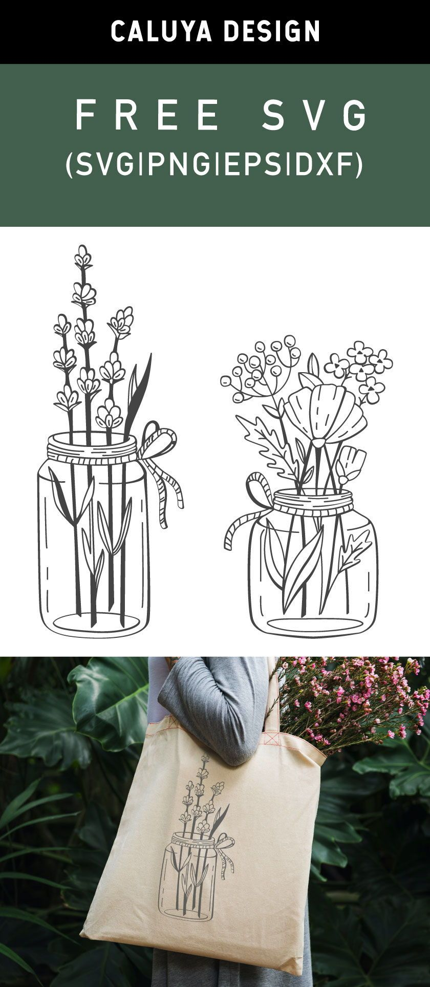 Free Mason Jar With Flowers SVG, PNG, EPS & DXF by Caluya Design