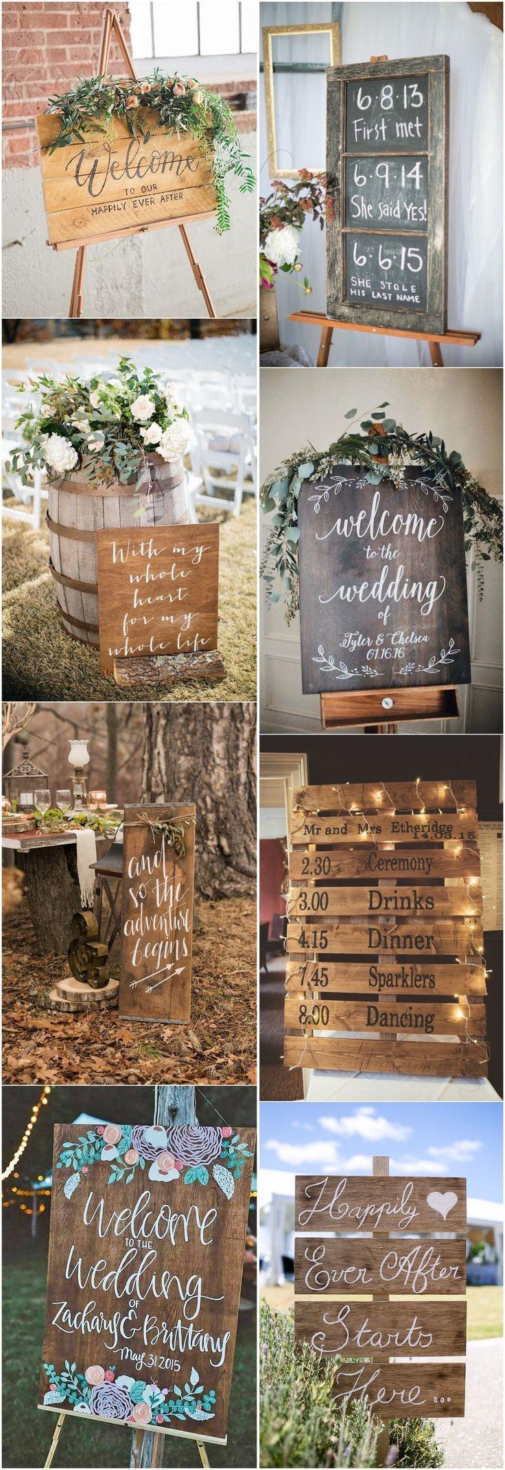 18 Rustikale, budgetfreundliche Ideen für rustikale Hochzeitsschilder