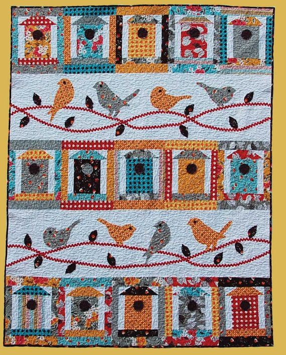 Folk Art Quilt Ideas : Primitive Folk Art Quilt Pattern - Free as a Bird Applique Quilt Pattern on Etsy, USD 9.95 Bird ...