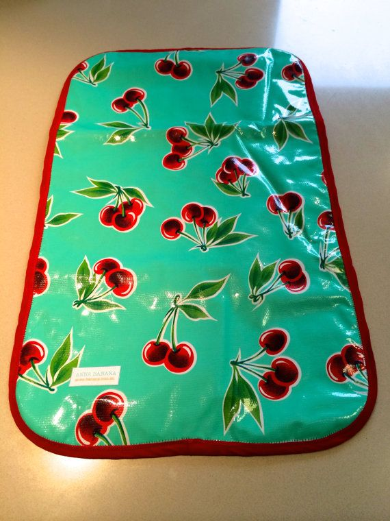 Oilcloth baby change mat with cherry print on Etsy, $25.00 AUD ...