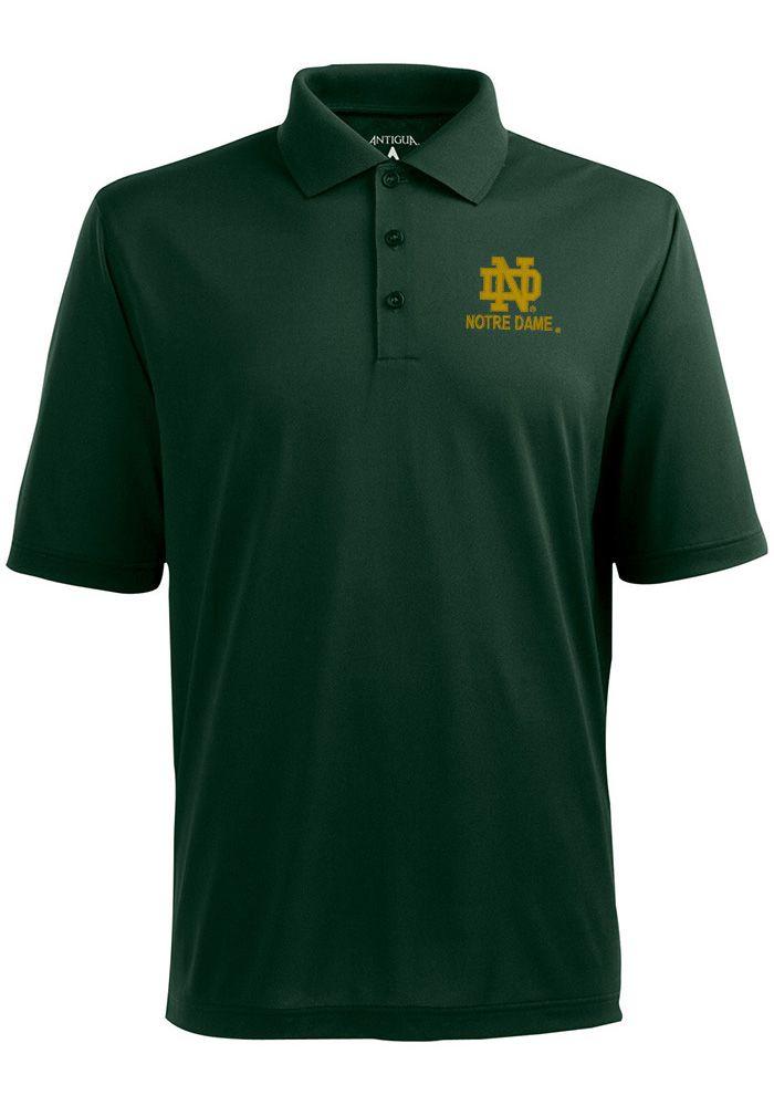 ff02e03a7dd Antigua Notre Dame Fighting Irish Mens Green Pique Short Sleeve Polo,  Green, 100% POLYESTER, Size XL
