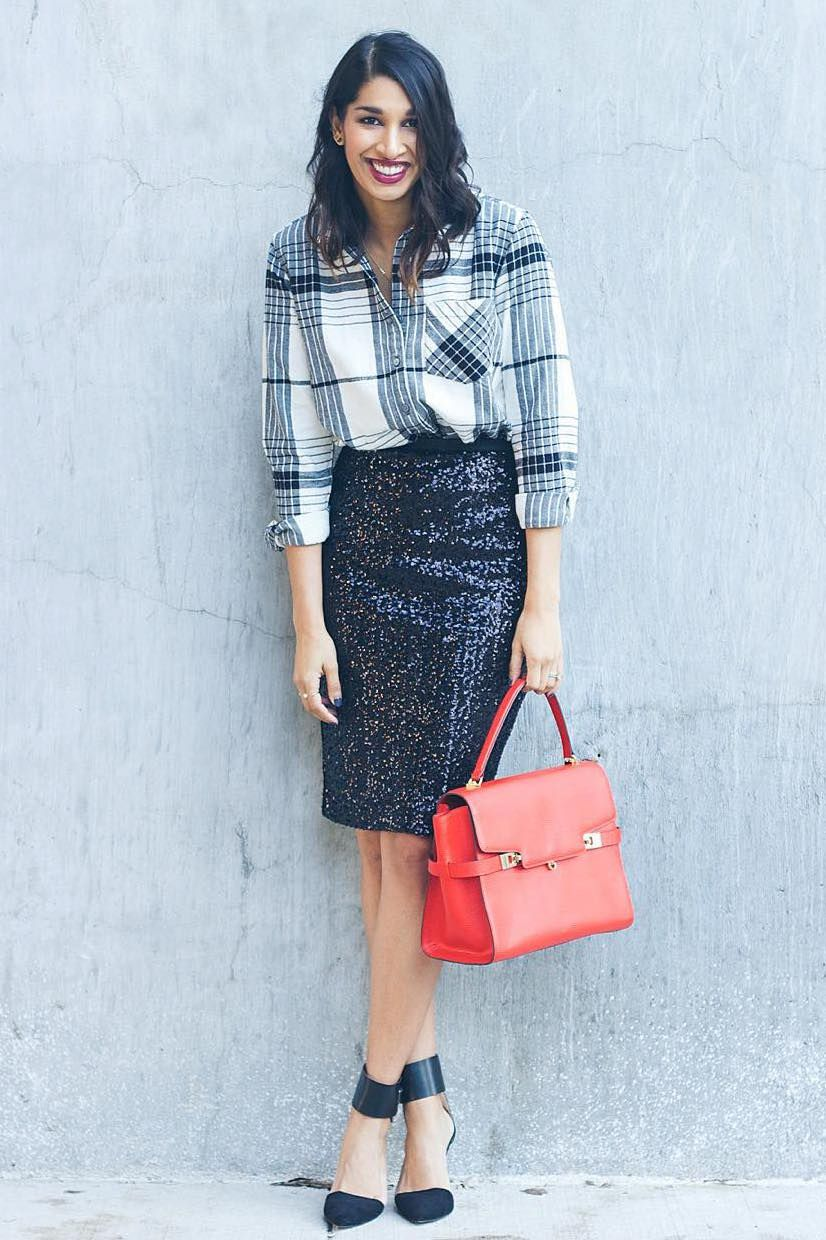 611b1901c8067 ... relaxed look from Shaheen Khan of Lows to Luxe. She pairs our soft-wash  black and white plaid boyfriend fit shirt with a black sequin pencil skirt  for a ...