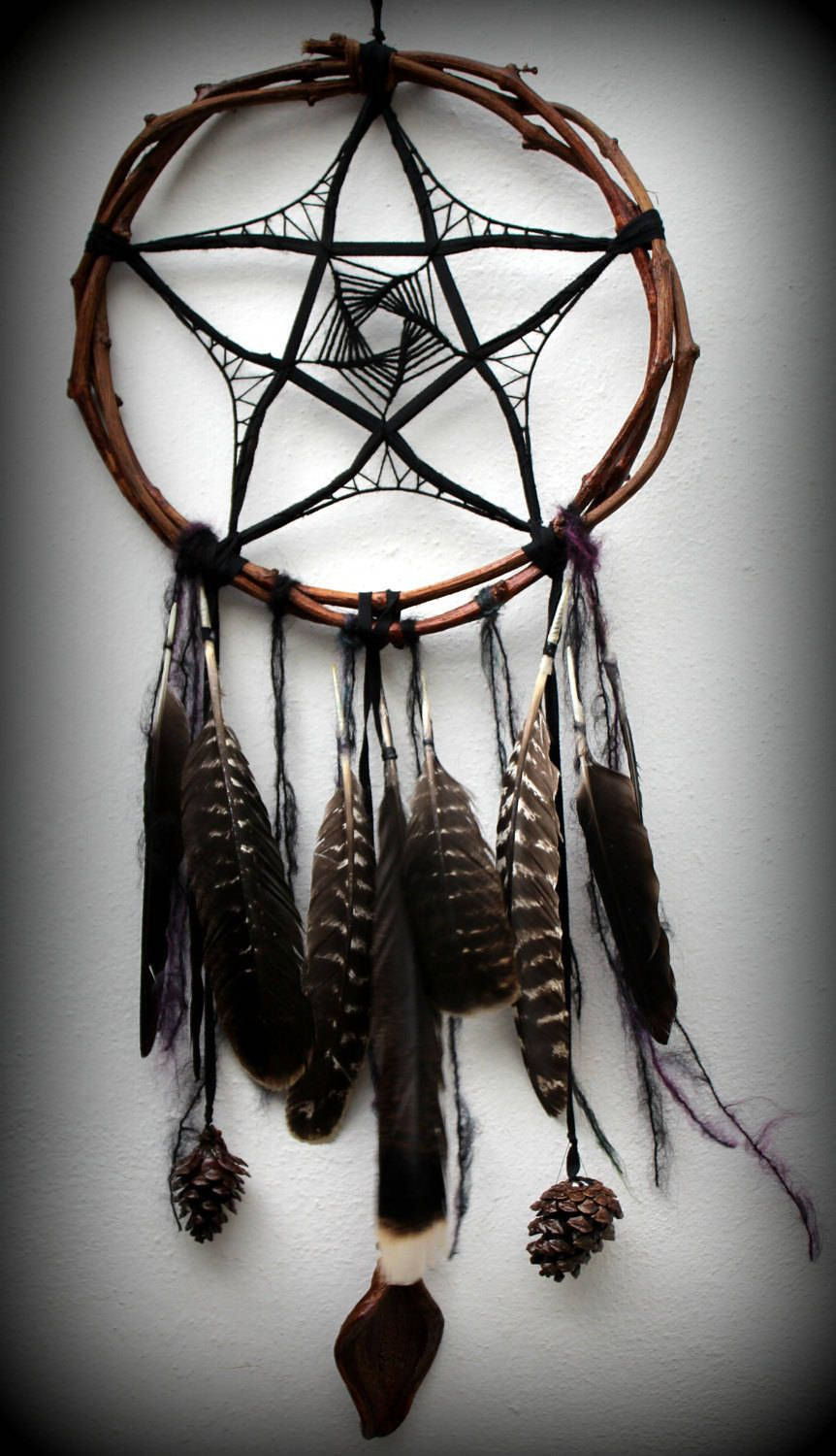 Photo of pentacle dark gothic magic black raven dreamcatcher home decor mystical feathers nature natural flower pentagram 5A sacred geometry symbol
