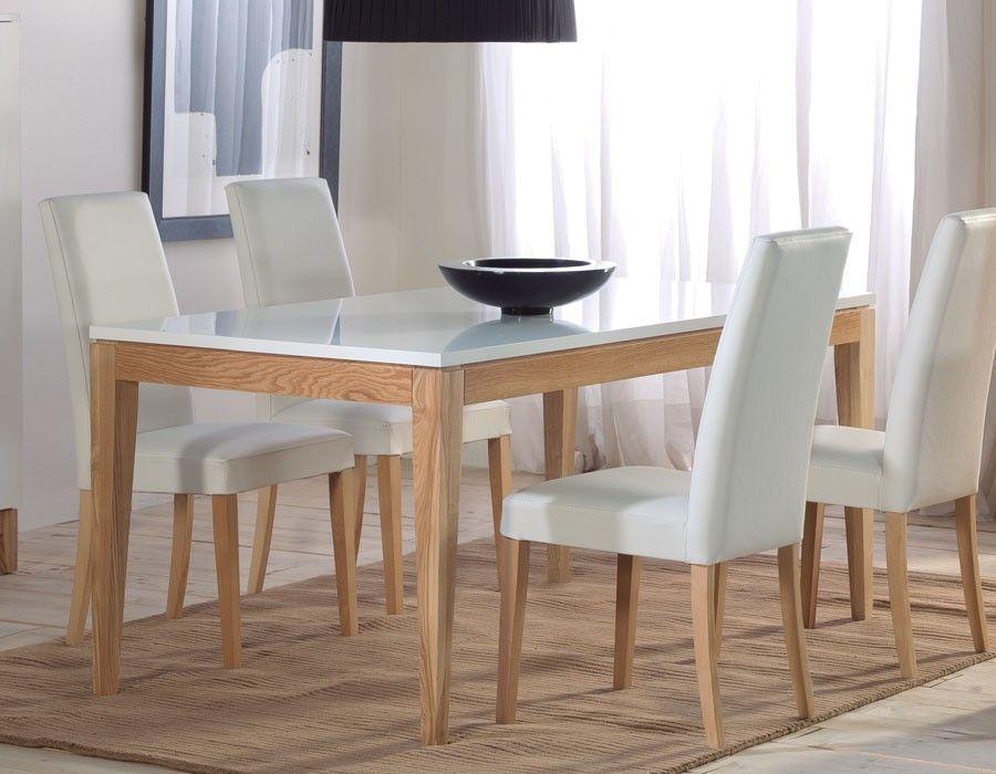 Table à manger scandinave laqué blanc et chêne OLGA Meubles de