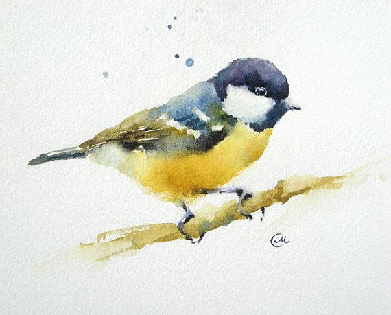 Aquarelle Oiseaux Mesange Peinture Originale Paysage Peinture
