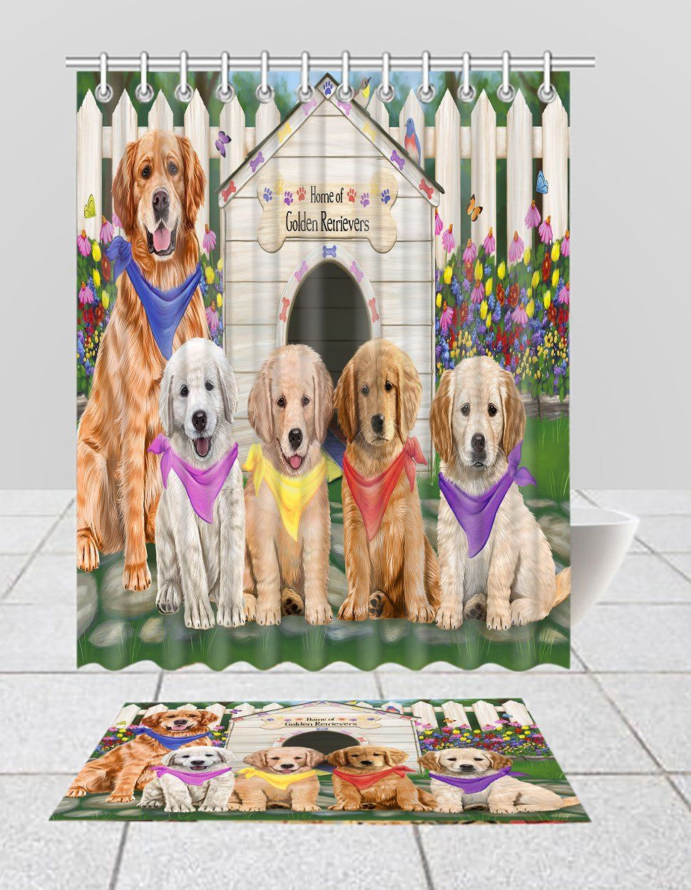 Spring Dog House Golden Retriever Dogs Bath Mat And Shower Curtain