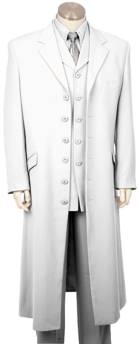 Mens Stylish Long Zoot Suit   Shirt   Tie   Vest White 45 Long ...