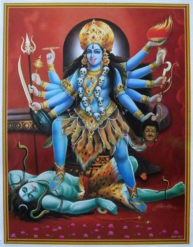 Kali on an uncontrollable rampage after slaying the demon, forcing Shiva to throw himself in her path to stop her dance of destruction.