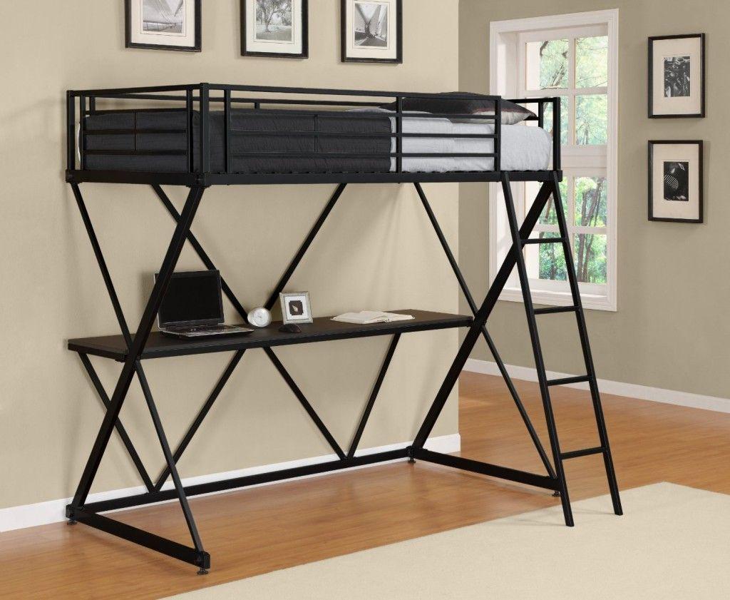 Loft bed with desk cheap  Ubercheap black metal loft bunk bed with desk underneath  Boys