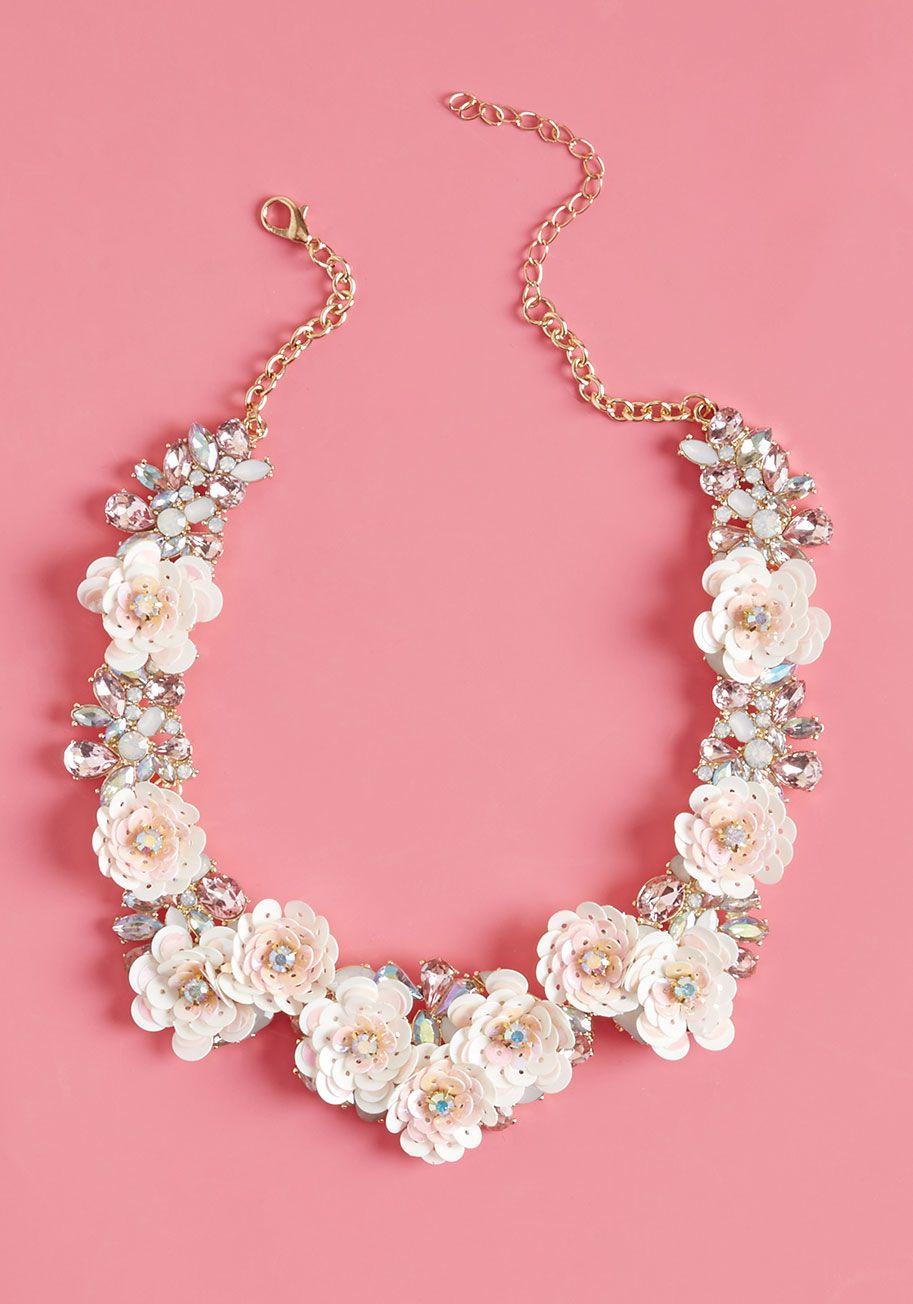 Sequin Pink Floral Statement Necklace btk4Wt8n