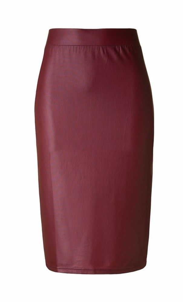 """Womens modest 24.5"""" high waist vintage leather skirts available in burgundy, nude and black S-L. #vintageclothing #pencilskirts"""