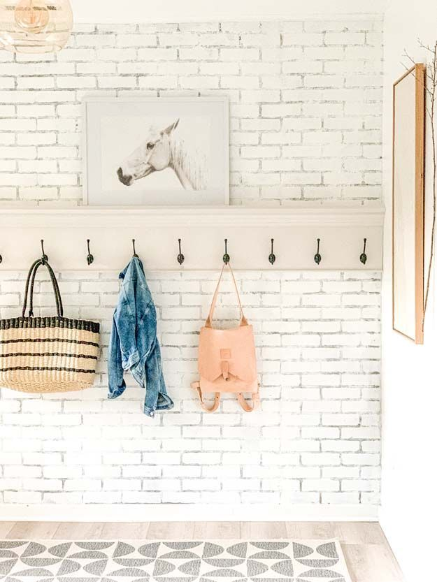 How to Create a Modern Farmhouse Mudroom |farmhouse decor|modern farmhouse|mudroom hooks|mudroom coat rack|farmhouse style|modern farmhouse|shabby chic|Large modern coat rack| HallstromHome
