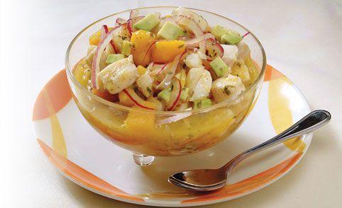 Receta de Ceviche tropical de corvina y mango - PRONACA