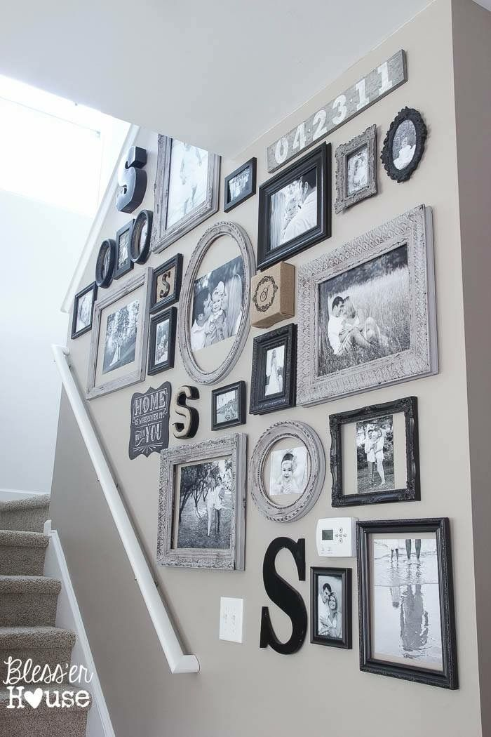 Frame colors, gallery wall ideas, black & white frames, monochrome stair wall art, interior ideas for hanging pictures, interior decor black & white #dreamdates