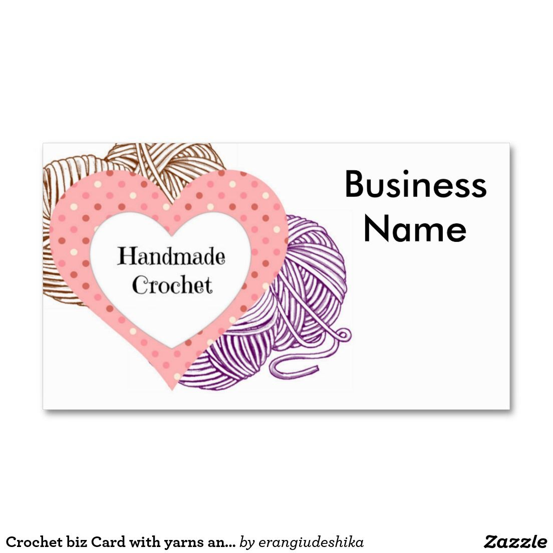 Crochet biz Card with yarns and Heart Shaped logo | Heart shapes ...