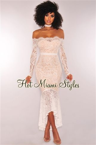 d3f90bce44 White Lace Nude Illusion Off Shoulder Padded Mermaid Maxi Dress ...