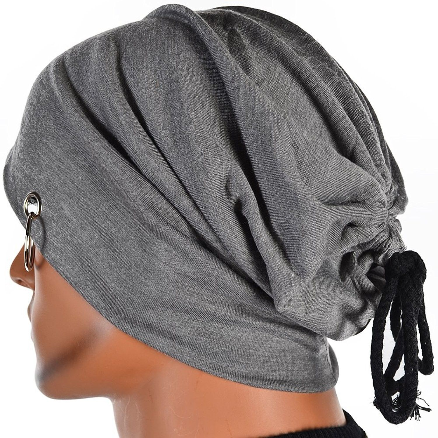 Men Ring Lacing Beanie Thin Hip-hop Skull Cap Unisex Bd (Medium Gray) -  CB11MMI2EBX - Hats   Caps e96cf2388d7