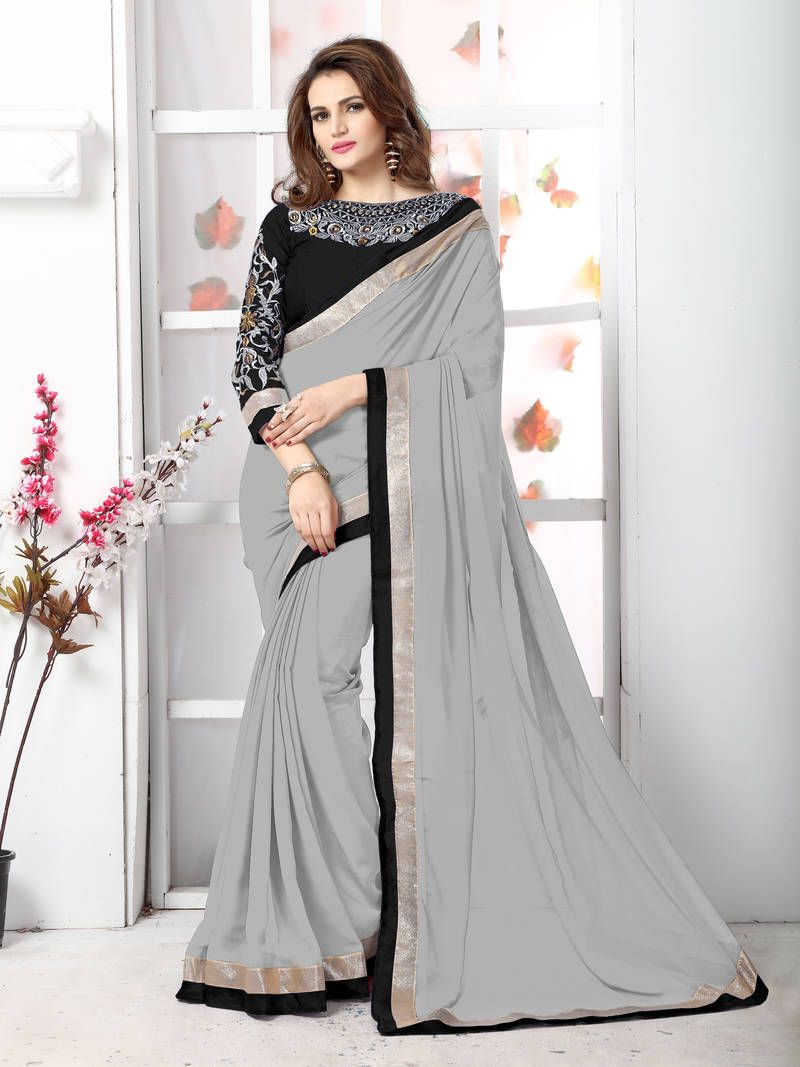 4e8e0612cc More Fashionable And Trendy Look Grey Plain Chiffon Saree With Blouse on  Mirraw at an affordable price.