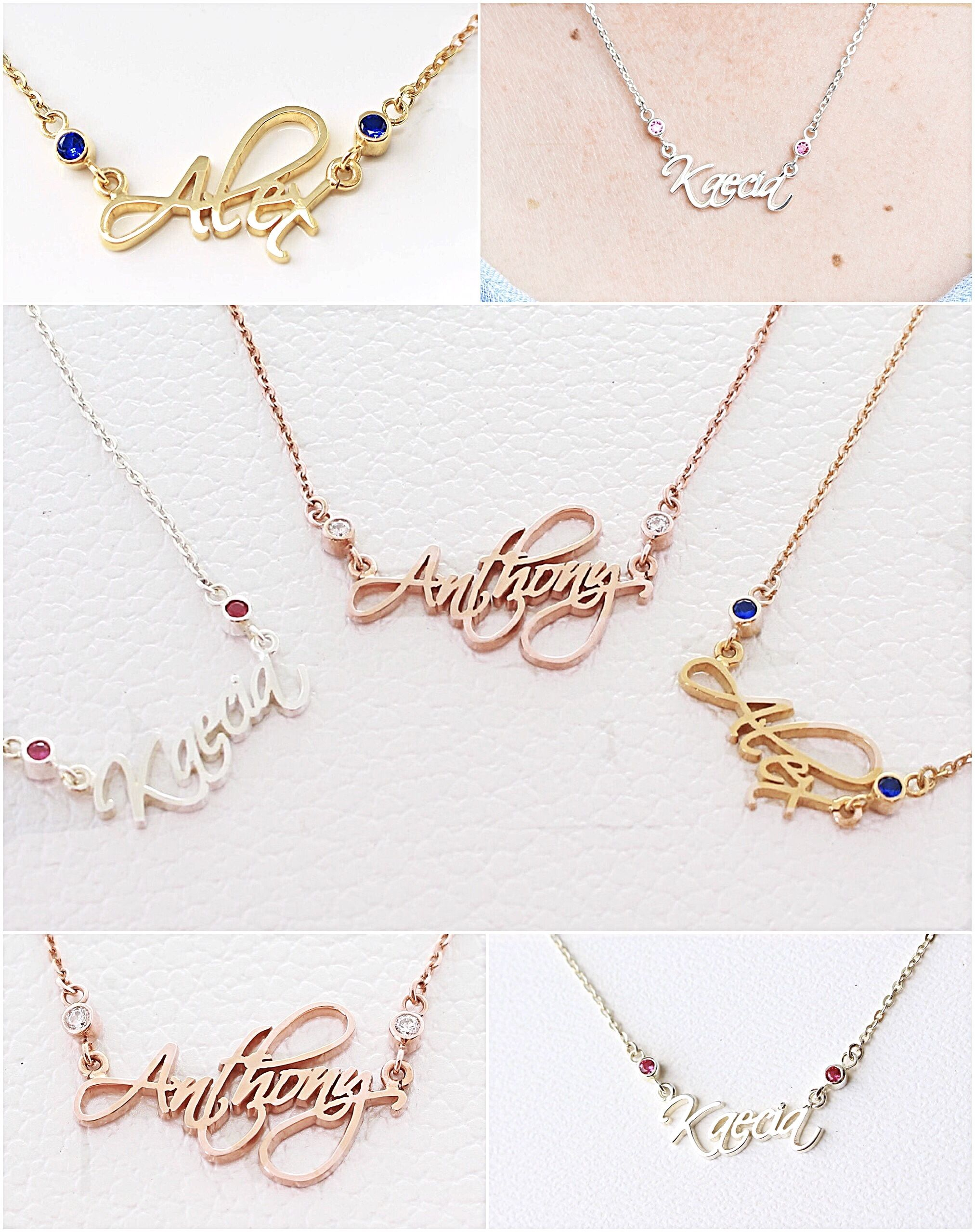 Custom name necklace with birthstones in sterling silver or yellow