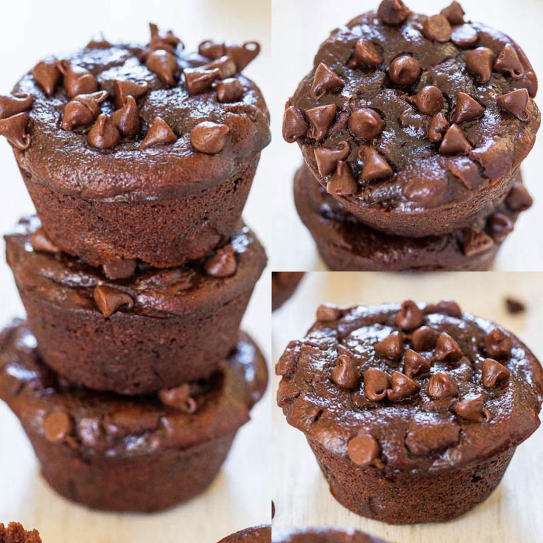 Flourless Double Chocolate Peanut Butter Mini Blender Muffins