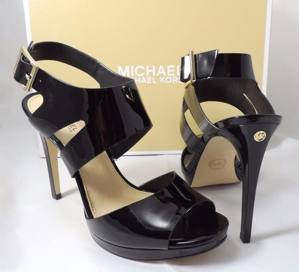 MICHAEL Michael Kors CLAUDIA SANDAL Mid Strappy Pumps Heels Patent Black Sz 7.5 #MichaelKors #Strappy #Formal