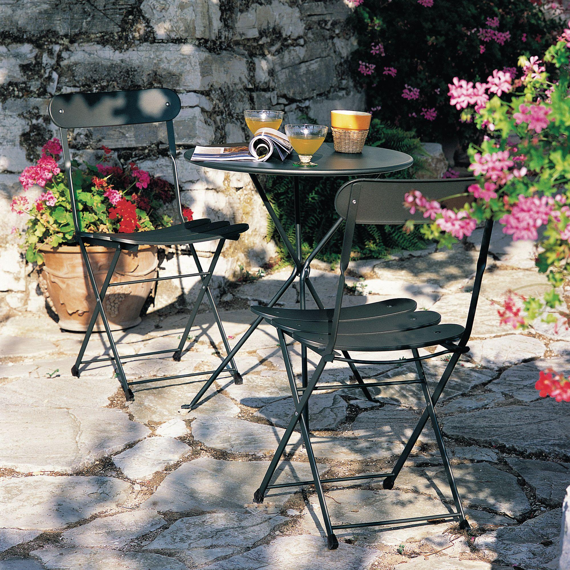 Salon de jardin 2 places Acier : table ronde + 2 chaises ...
