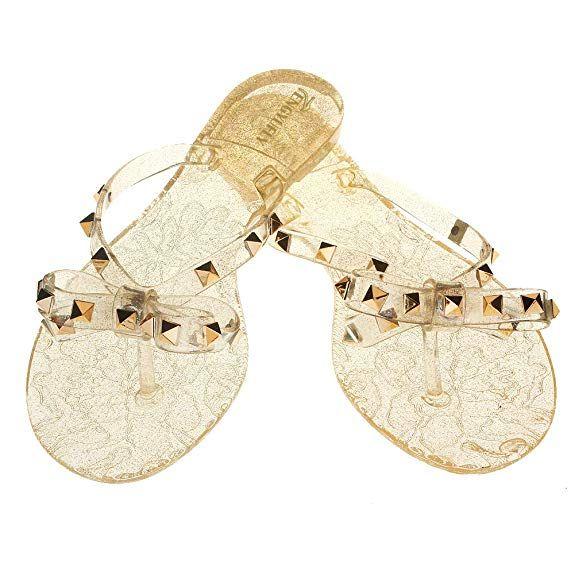 4cafd88f5 Amazon TENGYUFLY Rivets Bowtie Flip Flops Jelly Thong Sandal Rubber Flat  Summer Beach Rain Shoes
