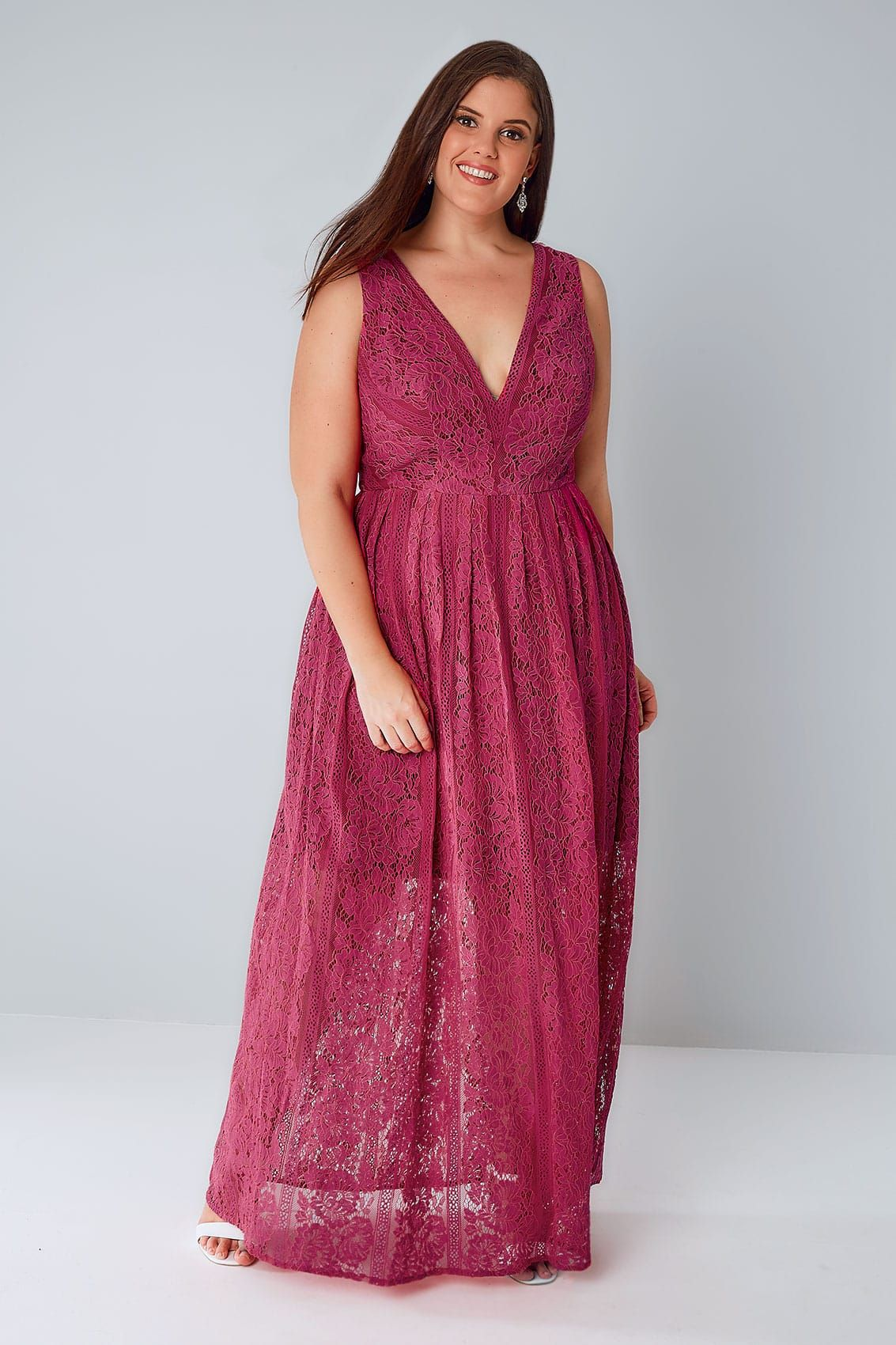 cad37134472e CHI CHI Raspberry Pink Sleeveless Maxi Dress With Floral Lace Overlay
