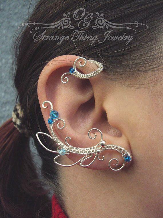 Par de alambre envuelto oído puños Neptuno por StrangeThingJewelry                                                                                                                                                                                 Más