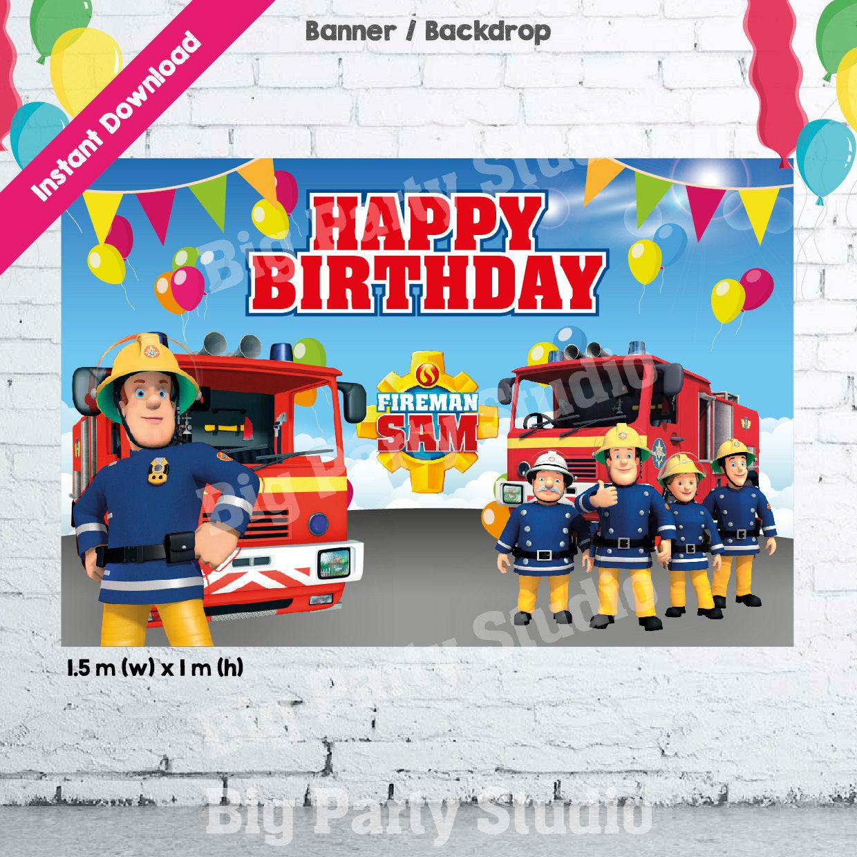 1 Fireman Sam Banner Fireman Sam Happy Birthday Backdrop – Fireman Sam Birthday Cards