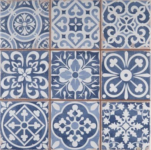 Bodenfliese Retro Wandfliese Vintage 33x33cm Fliese Weiss Blau Fs
