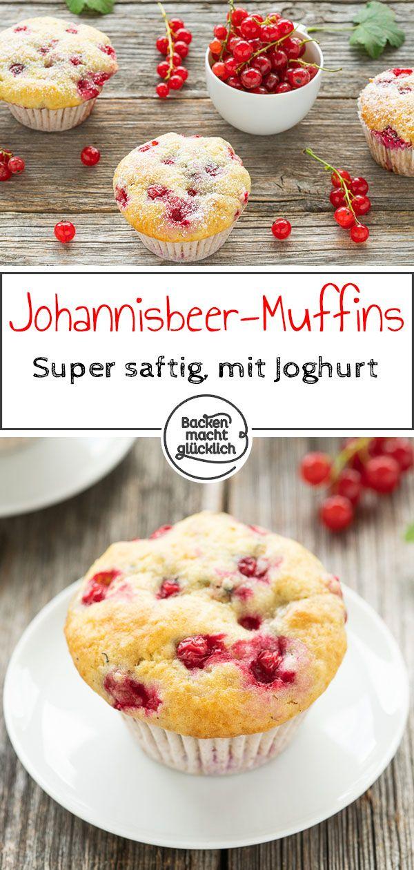 Diese Johannisbeer-Muffins sind ein süß-säuerlicher Genuss. Die schnellen, einfachen Johannisbeermuffins mit Joghurt werden herrlich saftig und flaumig. Perfekte Sommer-Muffins!  #johannisbeermuffins #sommermuffins #einfachemuffins #backenmachtglücklich #apfelmuffinsrezepte