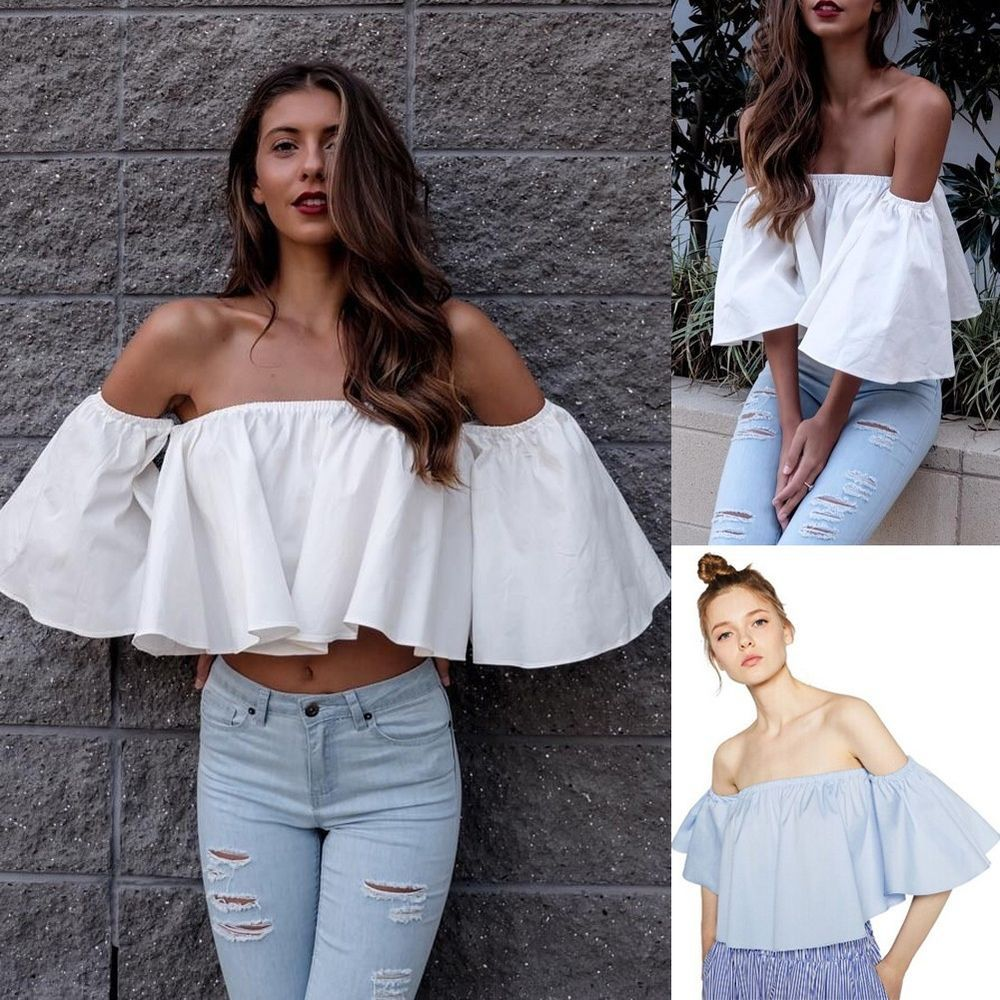9a50ea56fcf20 Lady shoulderless Flare sleeve Tank tops Off shoulder tee shirt Crop Top  Cropped  GL  Blouse