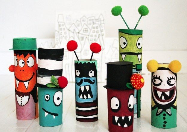 Cardboard Tube Monsters | Community Post: 22 Cool Kids Crafts You Can Make From Toilet Paper Tubes