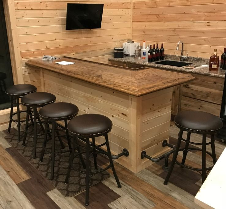 L Shaped Home Bar Completed Using Our Br475 Wood Bar Arm Rest Molding 1 844 Bar Rail Bars For Home Home Bar Rooms Home Bar Designs