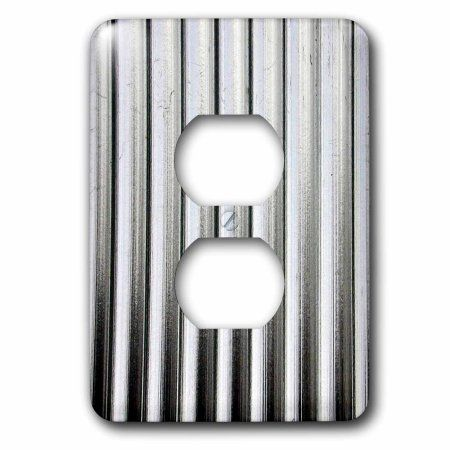 3drose Image Of Silver Corrugated Metal 2 Plug Outlet Cover Walmart Com Galvanized Metal Wall Corrugated Metal Corrugated Metal Wall