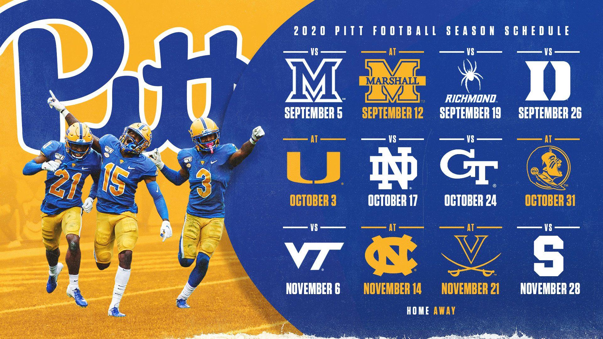 Pitt S 2020 Football Schedule Announced Pitt Panthers H2p In 2020 Pitt Football Sports Design Sports Design Ideas