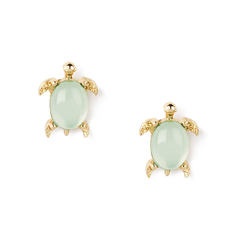 Turtle with Green Crystal Shell Stud Earrings   Claire's