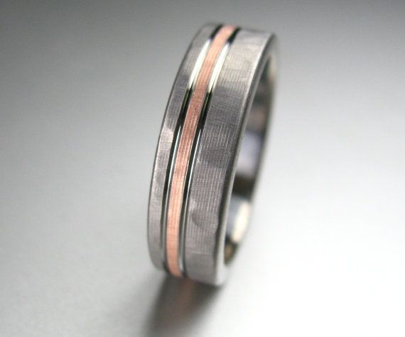 Men S Wedding Band Anium Rose Gold Hammered By Spexton 429 00