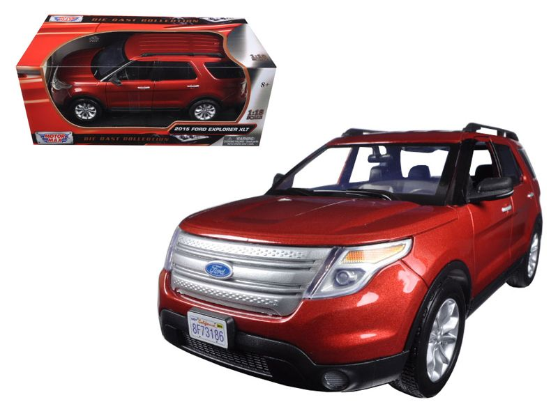 2015 Ford Explorer XLT Red 1/18 Diecast Model Car by Motormax - Brand new 1:18 scale diecast model of 2015 Ford Explorer XLT Red die cast model car by Motormax. Has steerable wheels. Brand new box. Rubber tires. Has opening doors. Made of diecast with some plastic parts. Detailed interior, exterior, engine compartment. Dimensions approximately L-10.5, W-4, H-4 inches. Please note that manufacturer may change packing box at any time. Product will stay exactly the same.-Weight: 4. Height: 8…