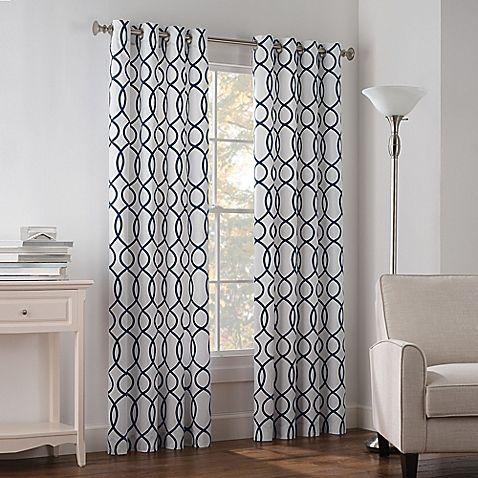 Newport Wave 95 Inch Light Filtering Grommet Top Window Curtain
